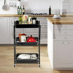 Foldbale Storage Cart,Foldable 3 Tier Rolling Cart Utility Folding Storage Cart With Handle, Free Installation Rolling Cart Metal Mobile Storage Organizer Cart With Wheels For Family, Black.