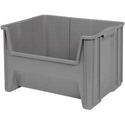 13017 Stack-N-Store Heavy Duty Stackable Open Front Plastic Storage Container Bin, (15-Inch x 20-Inch x 12-1/2-Inch), Gray, (3-Pack)