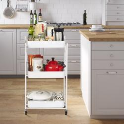 Foldable Storage Cart, Foldable 3 Tier Rolling Cart Utility Folding Storage Cart With Handle, Free Installation Rolling Cart Metal Mobile Storage Organizer Cart With Wheels For Family, White