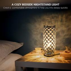 Crystal Table Lamp, Nightstand Decorative Room Desk Lamp without bulb, Night Light Lamp, Table Lamps for Bedroom, Living Room, Kitchen, Dining Room (Silver)