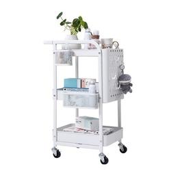 3 Tier Storage Rolling Cart, Heavy Duty Rolling Utility Cart Metal Push Cart with Pegboard and Extra Baskets Hooks, Trolley Organizer Cart with Utility Handle for Kitchen Office Home, White