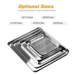 Aibecy Stainless Steel Flat Bottom Baking Tray with Mesh Set Square Barbecue Plate with Cooling Rack Drip Pan Baking Plate Barbecue Tray Bakeware (40*30*2.5cm)