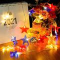 9.8ft Fourth of July Lights Patriotic LED Star String Lights Battery Operated Indoor Outdoor Christmas Party Wedding Birthday Independence Day Decoration, 2 Pack