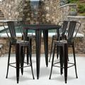 """Flash Furniture Commercial Grade 30"""" Round Black-Antique Gold Metal Indoor-Outdoor Bar Table Set with 4 Cafe Stools [CH-51090BH-4-30CAFE-BQ-GG]"""
