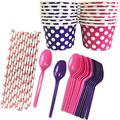 Valentine Purple and Hot Pink Ice Cream Sundae Kit - 8 Ounce Polka Dot Paper Treat Cups - Plastic Spoons - Paper Straws - 16 Each