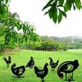 Windfall Garden Stake Black Chicken Shape Strong Construction Acrylic Garden Decorative Stake for Yard