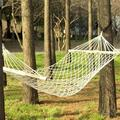 Joyful Durable Camping Hammock,Wood Pole Cotton Rope Hammock Bed with Rope White,Portable Single Handing Hammock for Travel Camping Backyard, Outdoor or Indoor