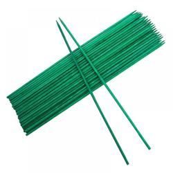 FYCONE 50Pcs Garden Stakes Green Bamboo Sticks Decorative Garden Wood Stakes for Plants, Wooden Plant Support Sticks, Small Stakes for Garden with Garden Ties and Nylon Plant Tie Strap (16 inch)