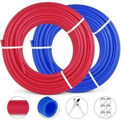 "VEVOR Oxygen O2 Barrier PEX Tubing - 2 Rolls of 1/2 Inch X 300 Feet Tube Coil - EVOH PEX-B Pipe for Residential Commercial Radiant Floor Heating Pex Pipe (1/2"" O2-Barrier, 2x300Ft/Red+Blue)"