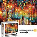 Jeestam Jigsaw Puzzle 1000 Pieces for Adults Kids Floor Puzzle Large Puzzle Family Creative Game Toys Gift Challenging Educational Artwork Collection Puzzle for Teens (Rainy Night Walk -1000 Piec