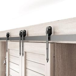 HAHAEMALL Super Mini Barn Door Hardware Kit Double Door, Sliding Smoothly & Quietly, Used For Small Cabinet Barn Door Hardware Track Kit(NO Cabinet)