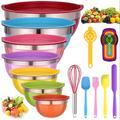 tokyolongco Mixing Bowls w/ Lids For Kitchen - 26 PCS Stainless Steel Nesting Colorful Mixing Bowls Set For Baking,Mixing,Serving & Prepping,Size 7