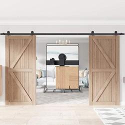 HAHAEMALL Sliding Barn Door Hardware Kit Heavy Duty Double Door Track Rail Rollers System Set in Black, Size 180.0 W in | Wayfair hahaGCM1957