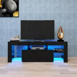 Ivy Bronx Modern Minimalist TV Cabinet Living Room w/ 20 Colors LED Lights,TV Stand Entertainment Center Modern High-Gloss LED TV Cabinet in Black