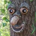 Tree Faces Decor Outdoor, Funny Resin Old Man Tree Art Decorations for Outside Garden Patio Whimsical Sculpture Statues Creative Props