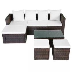 DRASHOME Rattan Garden Lounge Set Ottoman Tea Coffee Table Wicker Furniture Sofa Lounge Chairs Backyard Outdoor Patio Decoration