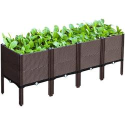 Fetcoi Elevated Garden Vegetables Planter Box,Raised Garden Bed for Vegetables Elevated Planter Box with Legs Outdoor Patio Flower Herb Container Gardening (4PCS)