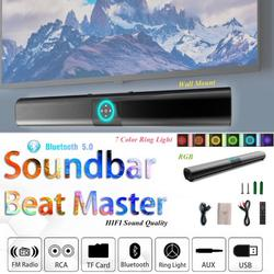 RGB 7 Colors Ring light Sound Bar, TV SoundBar W/Built-in Subwoofer Wireless Bluetooth 5.0 Home Theater TV Speaker Bar HIFI Sound Support Wall Mount 3D Surround Sound for PC/Phones/Tablets