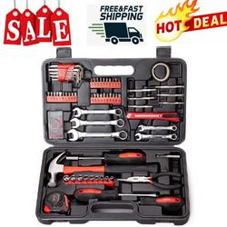 NEW SALE!148-Piece Tool Set, General Household Hand Tool Kit with Plastic Toolbox Storage Case, Iron Household Tool Set, Socket & Socket Wrench Sets for Home Repair, Red