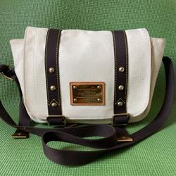 Louis Vuitton Bags | Louis Vuitton White And Brown Canvas Messenger Bag | Color: Brown/White | Size: Os