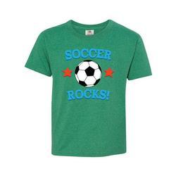 Inktastic Soccer Rocks Coach Player Gift Teen Short Sleeve T-Shirt Unisex Retro Heather Green L