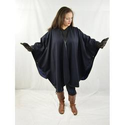 Cashmere Cape with Fur Trim/Cashmere Cape/Cashmere Capes/Cape/Capes/Fur Cape/Fur Capes for women/Capes and Shawls/Fur Caplet/Caplet/Coat/Poncho/Shrug/Ruana (Leather Trim-NAVY)