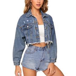 Short Denim Jackets For Women Long Sleeve Button Down Jeans Jacket Outwear Junior's Trendy Classic Denim Coat