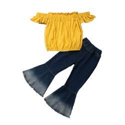 Children Clothing Set Summer Girls Outfit Off Shoulder Ruffle Tops Flared Pants Girl Set Kid Clothes Children Girls Clothing