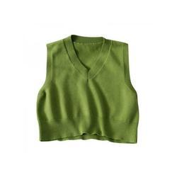 Women Loose Hedging Knitted Cotton V-Neck Vest,Women Vest,Apricot Vest,Sexy Vest,Knit Vest,Loose Vest,Solid Color Vest,Sleeveless Vest,Slim Vest,Sweater Vest,V-Neck Vest,vest