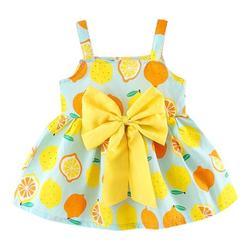 Aktudy Girls Sleeveless A-line Dress Kids Cute Lemon Print Sundress (Green 3-4T)