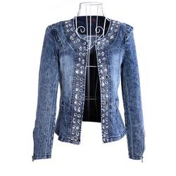 Plus Size Women Vintage Denim Jean Coat Ladies Diamonds Denim Jean Coat Blaser Jeans Denim Jacket Coat Long Sleeve Women Top Jacket Rhinestone Sequins Outwear Size 4-16