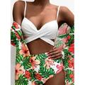 Women's Wrap Top Bikini High Waist Bottom Bathing Suit,with Kimono Cardigan Three Piece Swimsuit Set Mesh Beach Cover up Dress Cape Sun Block,Strap Back Tankini Deep V-Neck Tummy Control,Flower S-XL