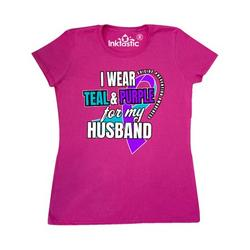 Inktastic Suicide Prevention I Wear Teal and Purple For My Husband Adult Women's T-Shirt Female