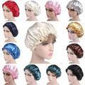 SANWOOD Cap Large Sleep Hat Royal Blue,Women Elastic Satin Lace Solid Color Night Sleep Hat Chemotherapy Hair Care Cap