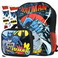 """Batman Backpack and Lunch Box Set for Kids ~ Deluxe 16"""" Batman Backpack with Insulated Lunch Bag and Stickers (Batman School Supplies Bundle)"""