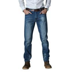 MAWCLOS Classic Plus Size Straight-Leg Jeans Trouser for Men Regular Rise Loose Denim Jeans Comfy Stretch Biker Jean Pants