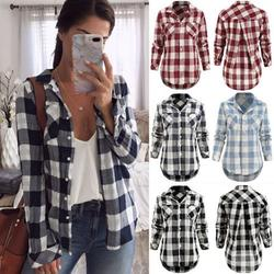 Women's Plaid Pattern Long Sleeve Blouse, Casual Long Sleeve Button Pockets Blouses Tops Female Shirt, Collar Neck Casual Button Down Shirts, S-2XL, Light Blue