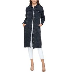 Women's Long Casual Maxi Length Denim Cotton Coat Oversize Button Up Jean Jacket (Mineral Black, S)