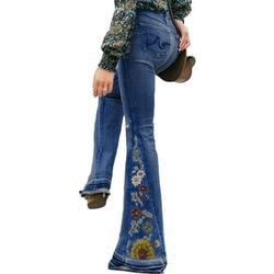 Vintage Plus Size Ladies Denim Jean Women Juniors 70s Trendy Slim Fit High Waist Flared Bell Bottom Denim Jeans Pants Ladies Floral Embroidery Wide Leg Denim Pants