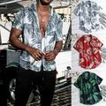 Pudcoco Men's Summer Vintage Casual Dress Shirt Mens Floral Short Sleeve Tops