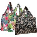 Wrapables Eco-Friendly Large Nylon (Set of 3) Reusable Shopping Bag, Blossoms & Ferns