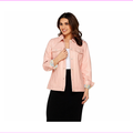 Denim and Co. LambS Leather Jean Jacket, Shell Pink, Size XXS, MSRP $289