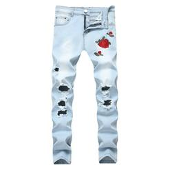 Mens Casual Stretchy Ripped Slim Fit Denim Jeans Washed Skinny Tapered Leg Jeans Bar Dancing Embroidery Destroyed Jeans