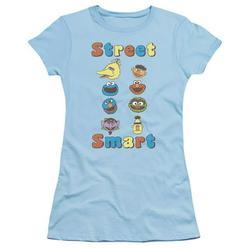Trevco SST278-JS-1 Sesame Street & Street Smart-Short Sleeve Junior Sheer T-Shirt, Light Blue - Small