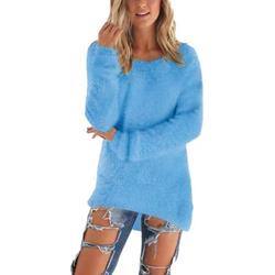 Plus Size Women Mid-Length Loose Solid Color Pullover Sweaters High Low Fluffy Tunics Crew Neck Womens Knit Tops for Junior Ladies Women