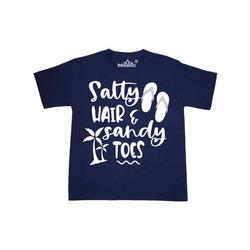 Inktastic Spring Break Salty Hair and Sandy Toes with Sandals Child Short Sleeve T-Shirt Unisex Navy S