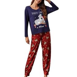 Sexy Dance Women Lightweight Crew Neck Pajamas Sets Long Sleeve Cotton Pullover Tops and Long Pants