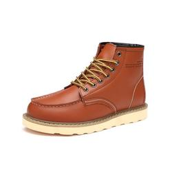 Avamo Men Leather Boots Motorcycle Shoes Martins Boots Shoe Lace-Up Ankle Boot
