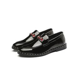 LUXUR Men's Metal Buckle Loafers Leather Shoes Driving Moccasins Slip On Casual Shoes
