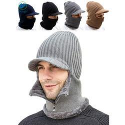 Deago Men Winter Knitted Balaclava Beanie Hat Scarf Set Warm Cycling Ski Mask Neck Warmer with Thick Fleece Lined Zipper Winter Hat & Scarf (Gray)